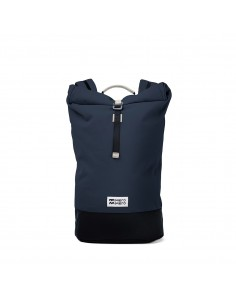 Mero Mero Squamish Backpack Navy Blue Cream Leather